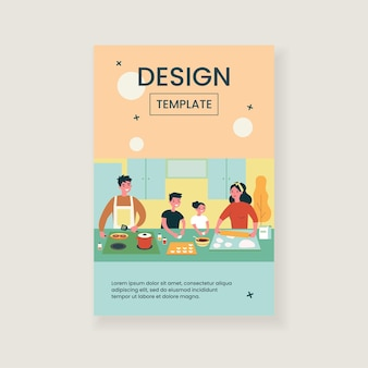 Happy family cooking together isolated flat illustration