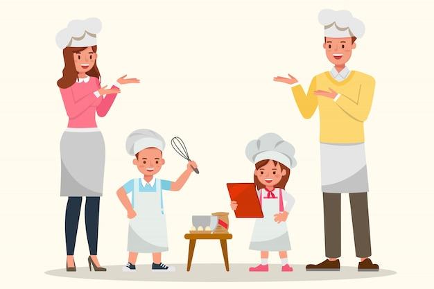 幸せなご家族一緒に料理。