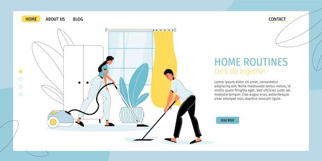 幸せな家族のカップルは、一緒に掃除機の床を掃除機で掃除をしています。