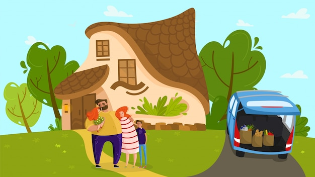 Happy family at cozy cottage, loving parents and cute children, people illustration