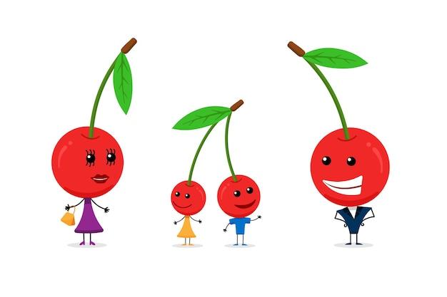 행복한 가족 귀여운 만화 체리 캐릭터 세트입니다. 재미 있는 어머니 아버지와 어린이 벡터 일러스트 레이 션