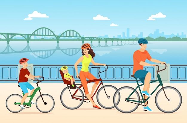 행복 한 가족 자전거 평면 그림입니다. 어린이, 어머니, 아버지와 아이 만화 캐릭터와 커플. 함께 자전거를 타는 사람들. 활동적인 야외 레크리에이션, 유대, 건강한 라이프 스타일.