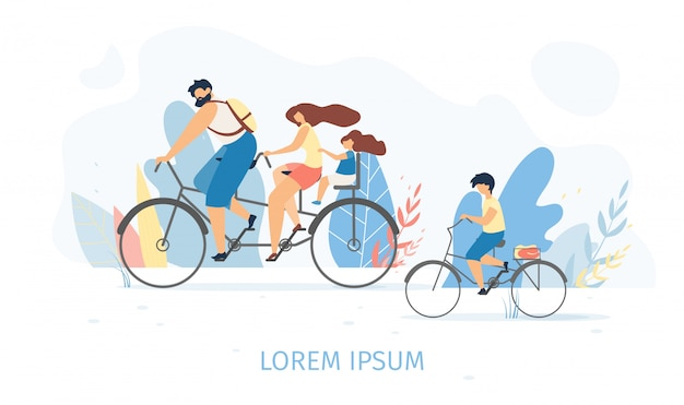 Happy family cycling together flat vector concept