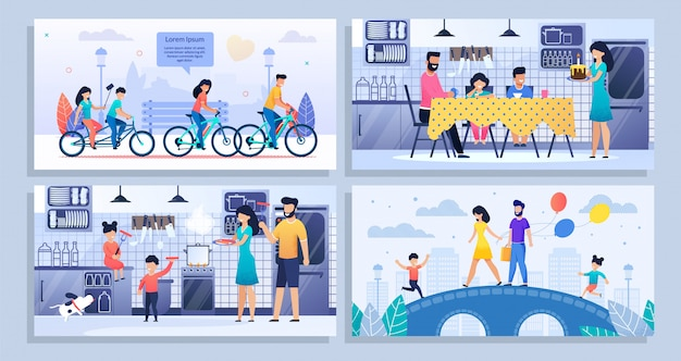Happy family daily routine flat banner mockup set