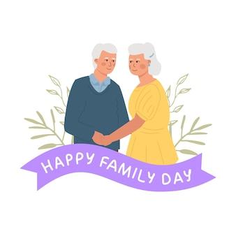 幸せな家族の日。手をつないで立っている年配のかわいいカップル