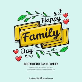 Happy family day background with ribbon and leaves