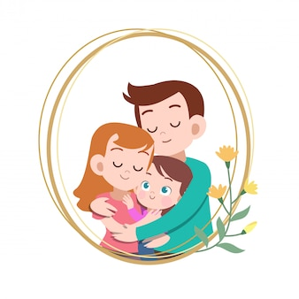 Happy family day card greeting vector illustration