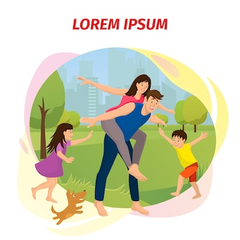 Happy family day cartoon vector banner
