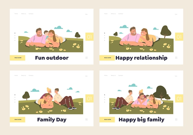 Happy family day concept of set of landing pages templates with smiling couple and kids together lying on green grass. relationship and love. landing page