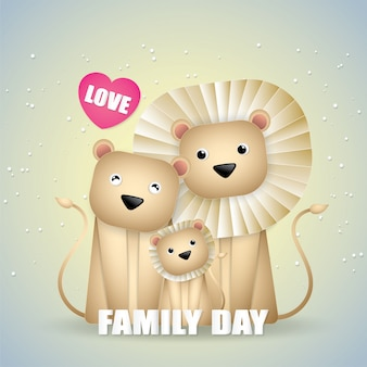 Happy family day cute family lions.