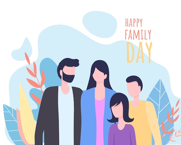 Happy family day greeting card background.