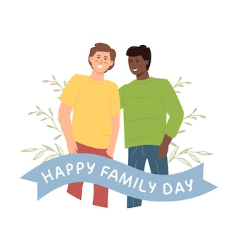 Happy family day. lgbt gay couple stands in an embrace