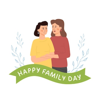 Happy family day. lgbt lesbian couple stands in a hug