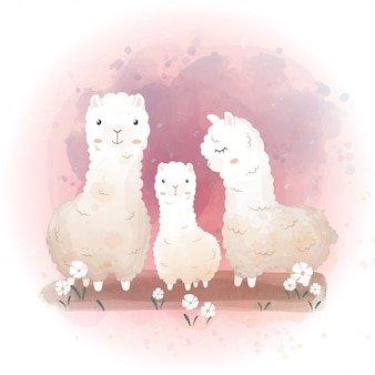 Happy family day picture with llama family.