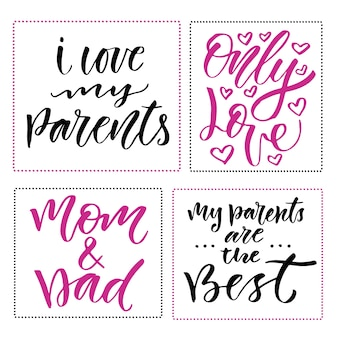 Happy family day prints. set of hand drawn calligraphic phrases. greeting card design.