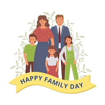 Happy family day with parents and children standing together