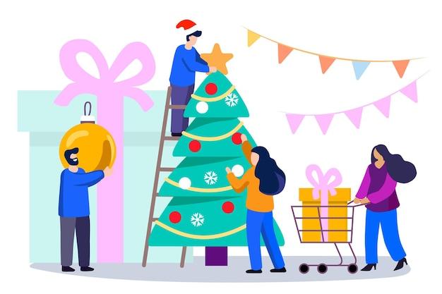 Счастливая семья украшает елку милые улыбающиеся люди украшают шарами и гирляндами