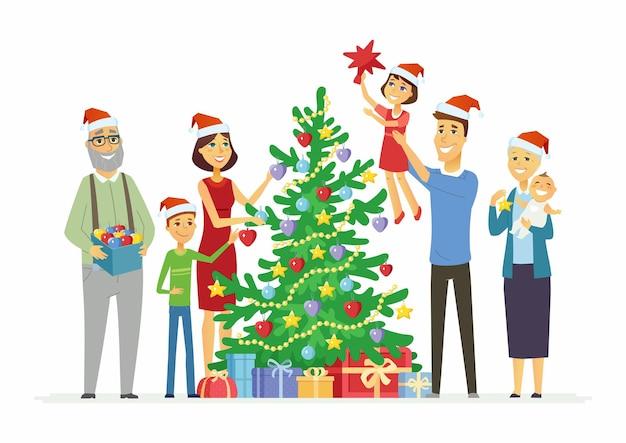 Счастливая семья украшает елку - иллюстрации персонажей мультфильмов на белом фоне. улыбающиеся мать и отец с детьми и бабушкой и дедушкой кладут украшения на сосну с подарками