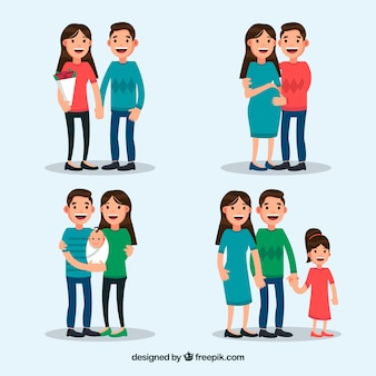 Happy family in different life stages with flat design
