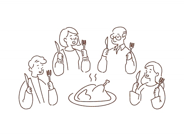 Happy family dinner with roast turkey, thanksgiving concept, hand-drawn style  illustration.