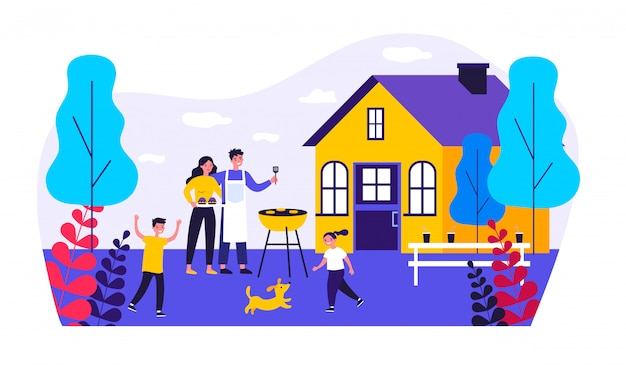 Happy family doing barbecue at garden   illustration