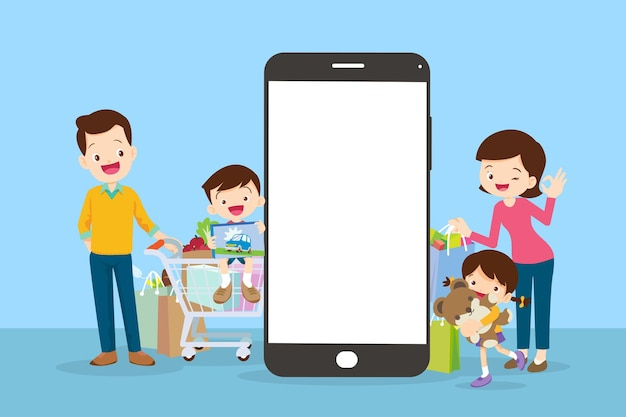 Happy family doing grocery shopping online with  mobile app on their smartphone