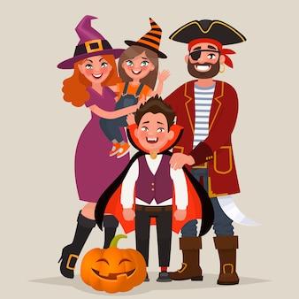 Happy family dressed in costumes, celebrates halloween