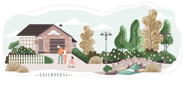 Happy family enjoying morning coffee outside cozy house near park, people illustration