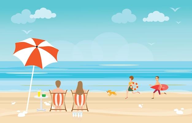 해변에서 즐기는 행복 한 가족