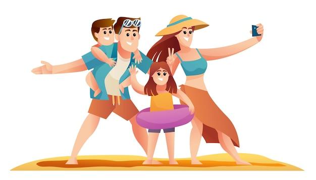 Счастливая семья наслаждается отдыхом на пляже набор символов