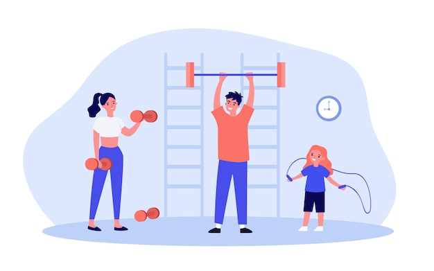 Happy family exercising in gym illustration
