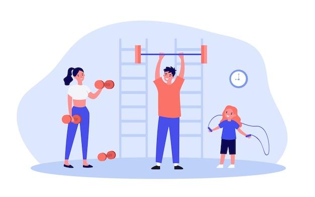 체육관 그림에서 운동하는 행복 한 가족