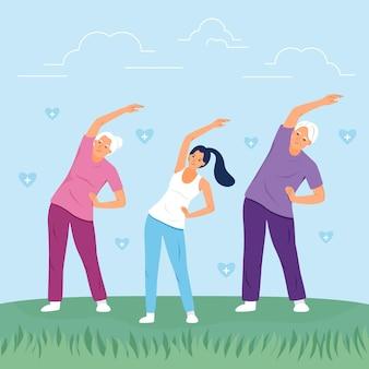 공원에서 함께 운동하는 행복 한 가족