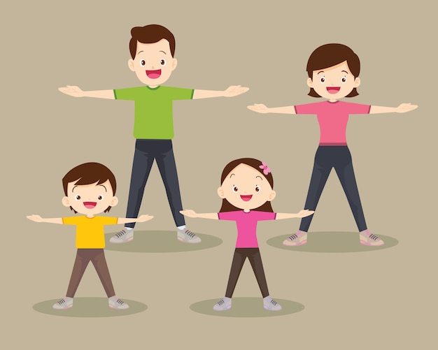 Happy family exercising together in public park