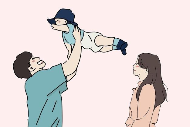 행복한 가족, 가족의 날, 육아 개념 그림