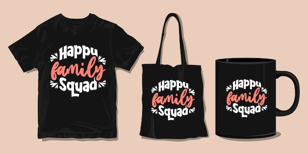 幸せな家族。家族のtシャツのタイポグラフィの引用。印刷用商品
