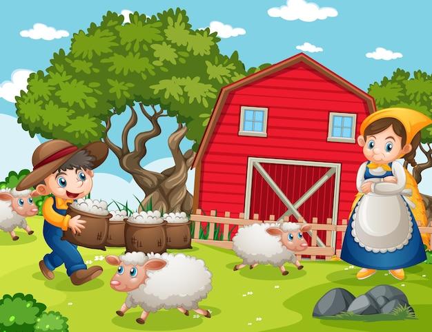 Famiglia felice nella scena della fattoria in stile cartone animato