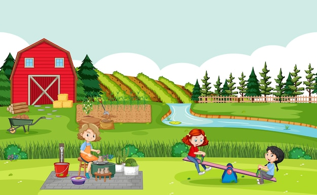 Happy family in farm scene with red barn in field landscape