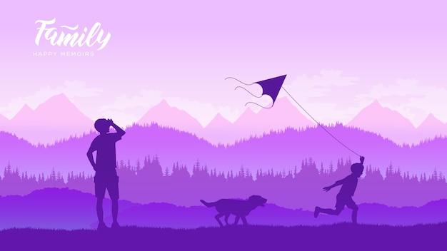 幸せな家族の父と子の娘が日没のイラストデザインコンセプトで自然に凧を起動します