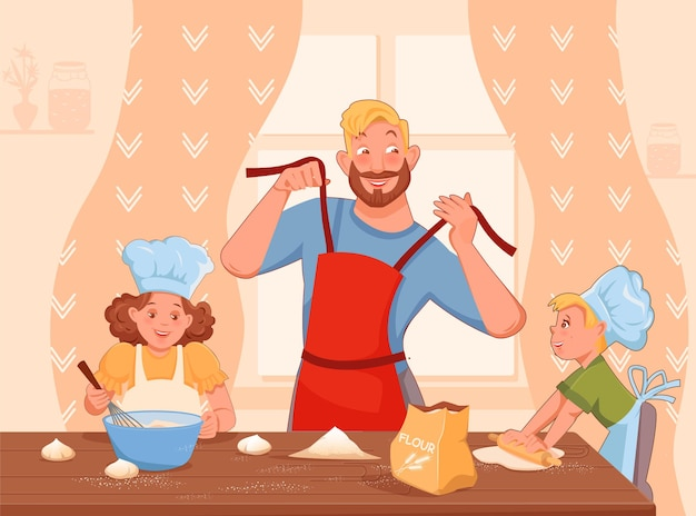 幸せな家族の父と2人の子供が一緒に食べ物を調理する大きなテーブルベクトル漫画スタイル