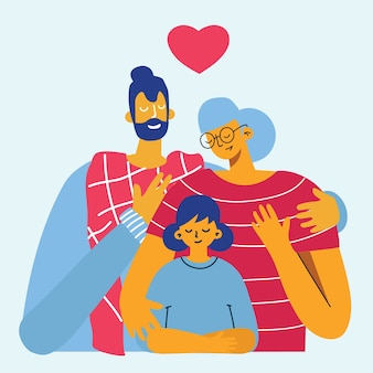 Счастливая семья. отец, мать и дочь вместе.