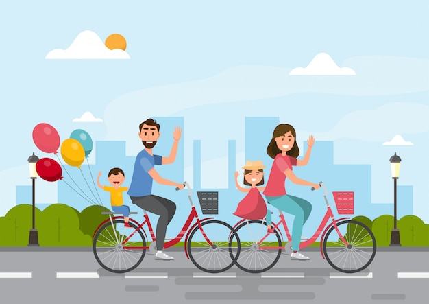 Счастливая семья. папа, мама, мальчик и девочка вместе едут на велосипеде