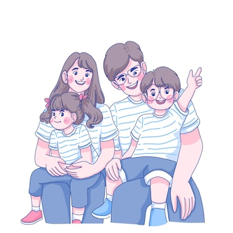 Happy family, father, mother, daughter, and son characters illustration.