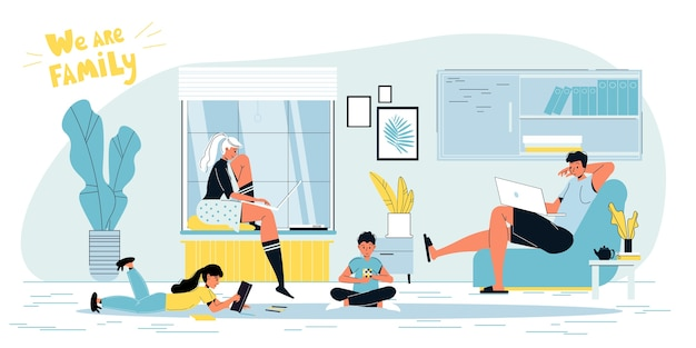 Happy family. father mother freelancer working online on laptop.