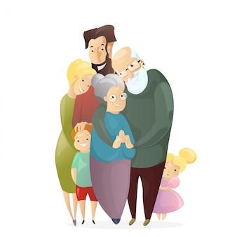 Счастливая семья. отец, мать, дедушка, бабушка, сын и дочь, стоя вместе и обнять в плоском мультяшном стиле. полная семейная концепция.
