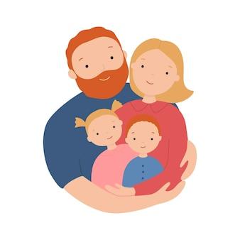 행복 한 가족 아버지 어머니 아들과 딸이 함께 포옹