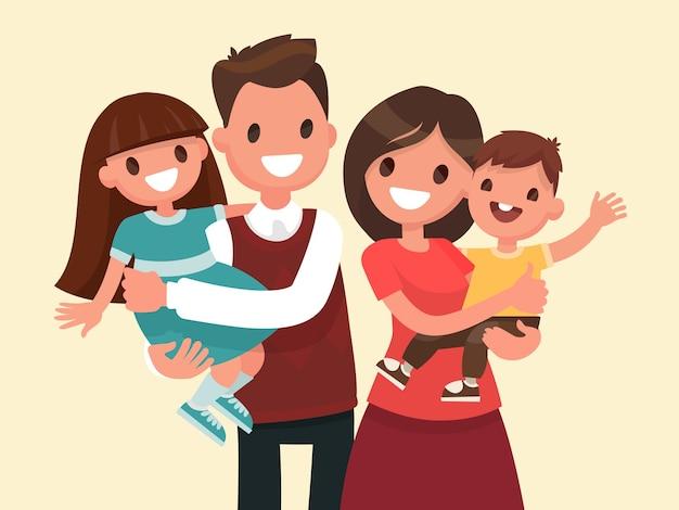 幸せな家族。父、母、息子、娘。親は子供たちの手にとどまっています。