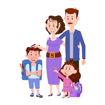 Happy family, father and mother with children