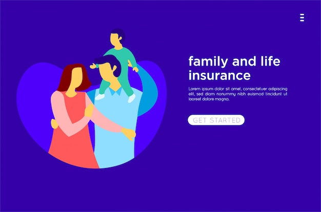 Happy family flat illustration