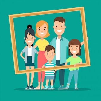 Happy family framed portrait flat style vector illustration.